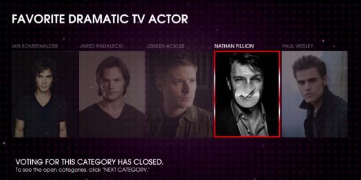 Acteur dramatique préféré  Nathan Fillion 2013